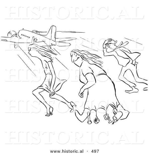 Historical Vector Illustration of a Creative Cartoon Woman Happily Wearing a Dress and Walking Through Strong Gusts of Wind While Others Struggle - Black and White Outlined Version