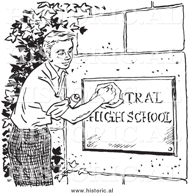 Illustration of a Boy Cleaning High School Sign - Black and White