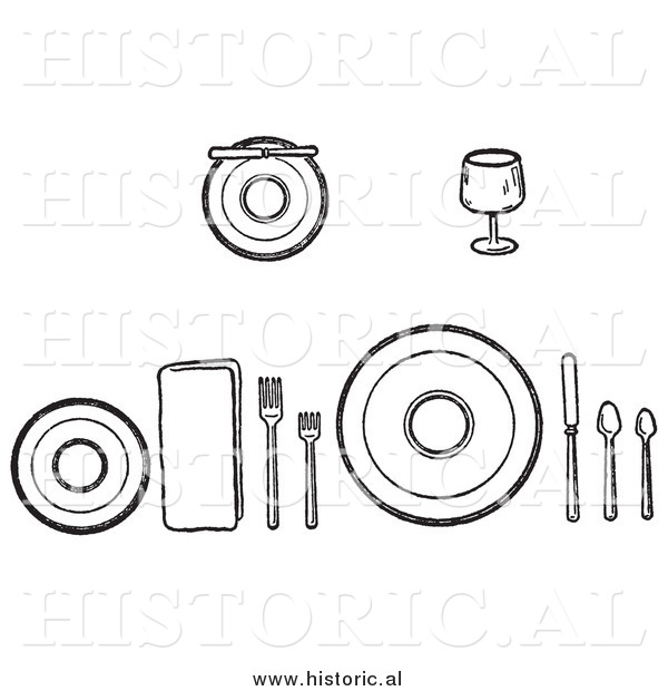 Illustration of a Proper Setting of Dishes on a Table - Black and White