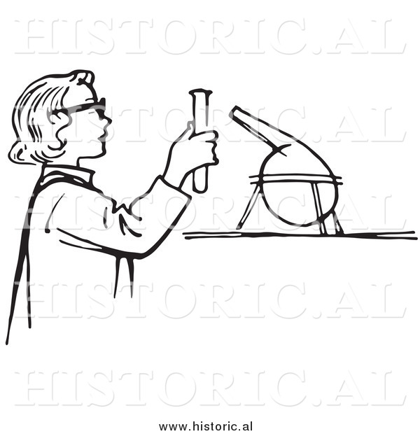 Illustration of a Young Girl Conducting a Science Experiment in a Lab - Black and White