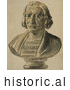 Historical Illustration of a Bust Statue of Christopher Columbus by JVPD