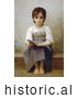 Historical Illustration of a Little Girl with an Open Book, the Difficult Lesson by William-Adolphe Bouguereau by JVPD