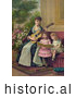 Historical Illustration of a Mother and Two Little Girls Singing a Christmas Carol by JVPD