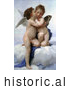 Historical Illustration of Cupid and Psyche As Children, Kissing, by William-Adolphe Bouguereau by JVPD