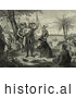 Historical Illustration of Curious Natives Watching a Man Kneeling and Bowing to Christopher Columbus and His Men upon Landing in the New World by JVPD