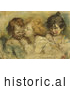 Historical Illustration of Three Children, One Kissing Another by JVPD