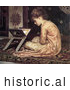 Historical Painting of a Girl Sitting on a Carpet, Reading a Book at a Reading Desk by Frederic Lord Leighton by JVPD