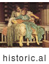 Historical Painting of a Woman Teaching a Girl How to Play an Instrument, Music Lesson by Frederic Lord Leighton by JVPD